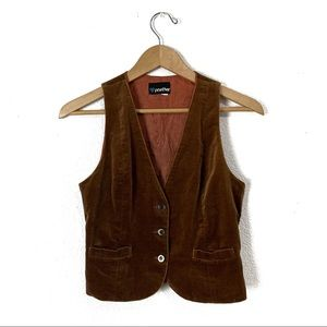 Vintage 1970s brown velvet vest S